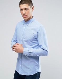 Льняная рубашка премиум узкого кроя Jack & Jones - Синий