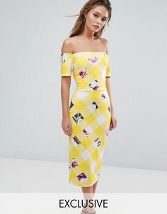 Платье миди с открытыми плечами True Violet - Мульти