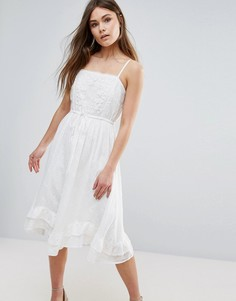 Платье-майка миди с ажурной вышивкой Vero Moda - Белый