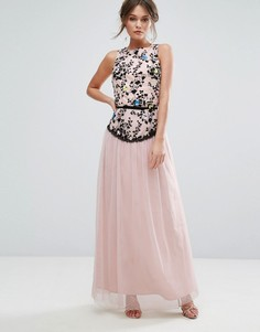 Платье макси с вышивкой и юбкой из тюля Little Mistress - Розовый