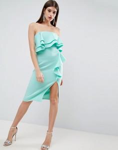 Платье-бандо миди с двойной оборкой и каскадной драпировкой ASOS - Синий