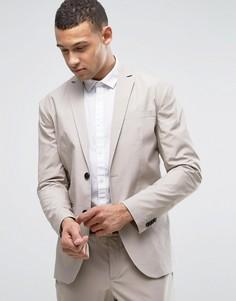 Хлопковый зауженный пиджак Jack & Jones Premium - Светло-серый