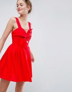 Короткое приталенное платье из льна с вырезом и бантом ASOS - Красный