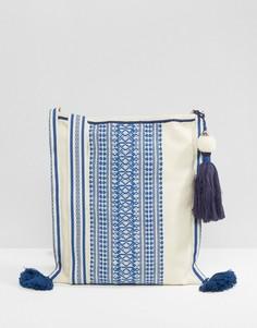 Кремовая сумка через плечо с синей вышивкой и кисточками Star Mela - Мульти