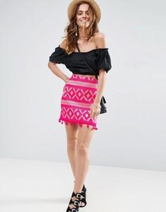 Жаккардовая мини-юбка с помпонами ASOS - Розовый