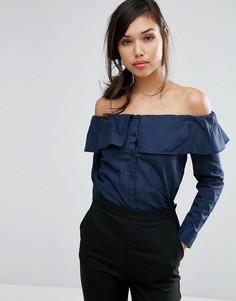 Рубашка с открытыми плечами Fashion Union - Темно-синий