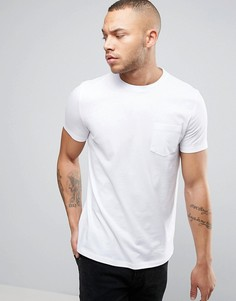 Белая футболка с круглым вырезом и карманом ASOS - Белый