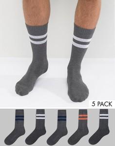 5 пары серых меланжевых носков в спортивном стиле ASOS - Серый