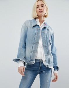 Джинсовая куртка с вышивкой 7 For All Mankind - Синий