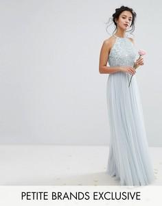 Тюлевое платье макси с высоким воротом и пайетками в тон Maya Petite - Синий