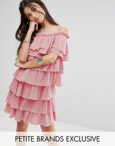 Платье мини в клеточку из ярусных оборок Glamorous Petite - Красный