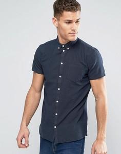 Темно-синяя облегающая рубашка в мелкий горошек на пуговицах с короткими рукавами Minimum Bellino - Темно-синий