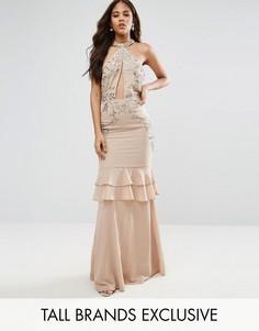 Платье макси с оборками на юбке Maya Tall - Розовый