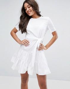 Хлопковое ярусное платье мини ASOS - Белый