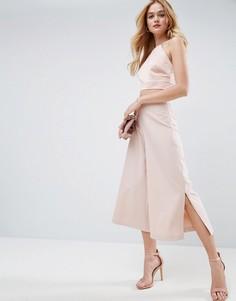 Комбинируемая юбка-брюки с боковыми разрезами ASOS - Розовый