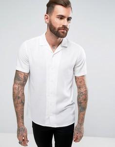 Белая вискозная рубашка классического кроя с воротником в виде лацканов ASOS - Белый
