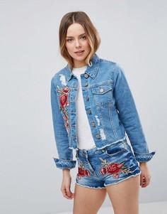 Джинсовая куртка с вышивкой розы Parisian - Синий