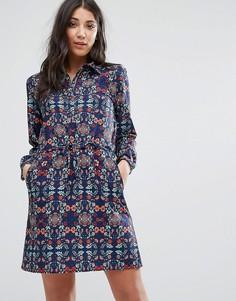 Платье-рубашка с принтом и шнурком на талии Lavand - Мульти