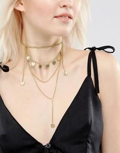 Ожерелье-цепочка в несколько рядов с дисками ASOS - Золотой