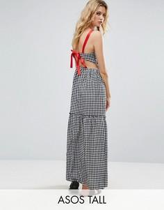 Платье макси в клеточку с контрастной завязкой ASOS TALL - Черный
