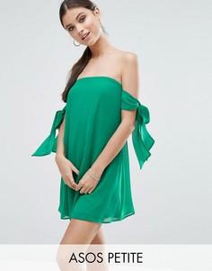 Платье-трапеция мини с открытыми плечами и бантом ASOS PETITE - Зеленый