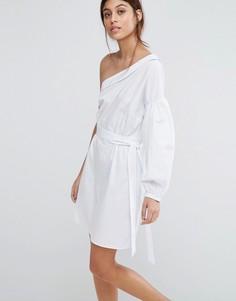 Хлопковое платье мини на одно плечо ASOS - Белый