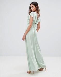 Платье макси с оборками на рукавах и бретельками на спине New Look - Зеленый