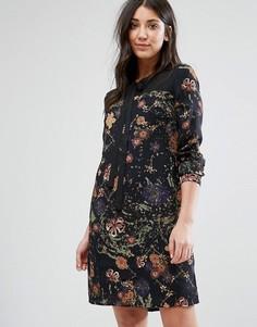 Цельнокройное платье с принтом и завязкой у горловины Lavand - Черный