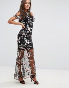 Платье макси с высоким воротом и вышивкой Lipsy - Мульти