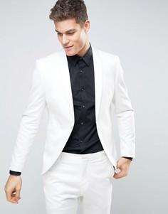 Белый приталенный пиджак-смокинг Selected Homme - Белый