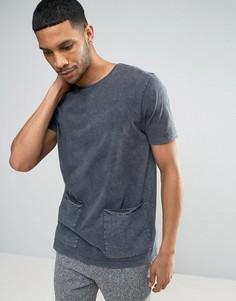 Длинная футболка с эффектом кислотной стирки и карманами ASOS - Серый