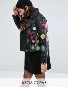 Кожаная байкерская куртка с цветочной вышивкой ASOS CURVE - Черный