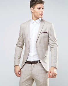 Зауженный пиджак в решетчатую клетку Selected Homme - Светло-серый