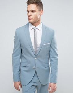 Облегающий пиджак с лацканами с разрезами Selected Homme - Синий