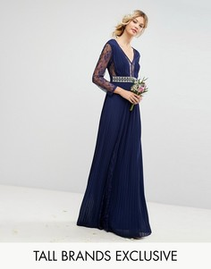 Плиссированное платье макси с длинными рукавами, кружевными вставками и отделкой на талии TFNC Tall - Темно-синий