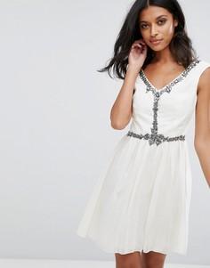 Короткая расклешенная юбка Little Mistress - Белый