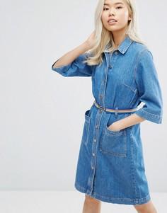 Джинсовое платье на пуговицах с ремнем M.i.h Jeans Lola - Синий