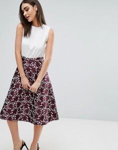 Платье миди с вышивкой на юбке А-силуэта AX Paris - Мульти