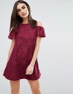 Свободное платье с открытыми плечами Ax Paris - Фиолетовый