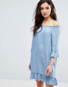 Джинсовое платье с открытыми плечами ONLY - Синий