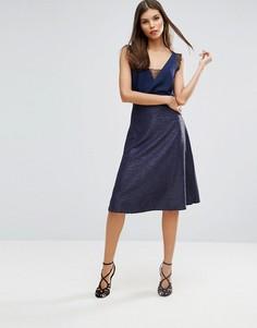 Фактурная юбка-трапеция Ax Paris - Синий