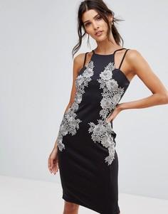 Платье миди с кружевной отделкой спереди AX Paris - Мульти