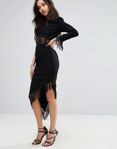 Асимметричное платье-футляр с бахромой Misha Collection - Черный