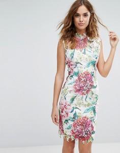 Кружевное платье миди с высокой горловиной и цветочным рисунком Paper Dolls - Мульти