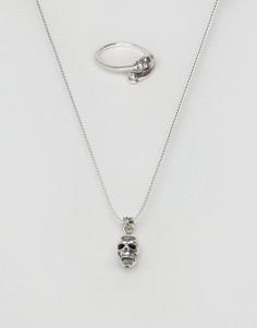 Серебряное ожерелье-цепочка и кольцо с черепом ASOS - Серебряный