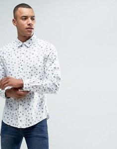 Рубашка на пуговицах с принтом в виде треугольников Esprit - Белый