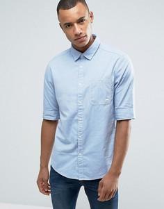 Рубашка на пуговицах с узкими рукавами и нагрудным карманом Esprit - Синий