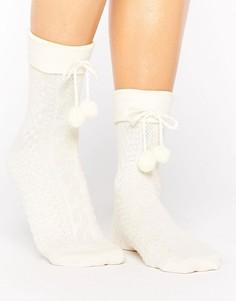Тонкие носки с помпонами ASOS - Розовый