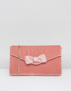 Розовый бархатный клатч Dune Breya - Розовый