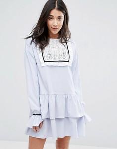 Платье в рубчик с оборками и кокеткой на груди The English Factory - Синий